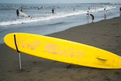 Surf rescue board at the beach