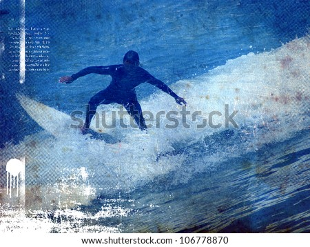 surf vintage poster with rider jumping