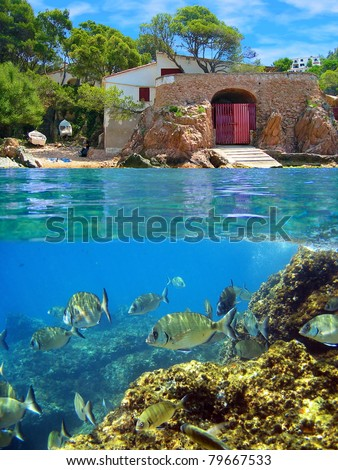 Surface and underwater view with school of fish and coastal house with boathouse, Mediterranean sea, Costa Brava, Catalonia, Spain