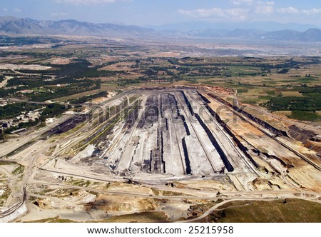 Surface coal mine, aerial view