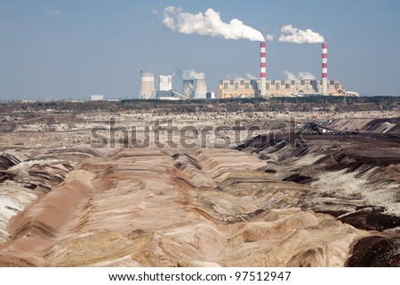 Surface coal mining and power staion in Belchatow, Poland