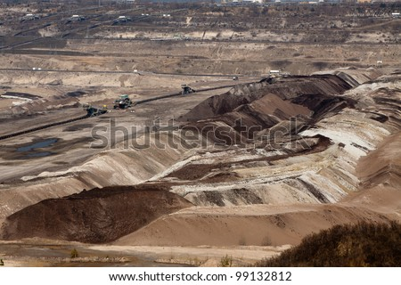Surface coal mining in Belchatow, Poland - view at terraces
