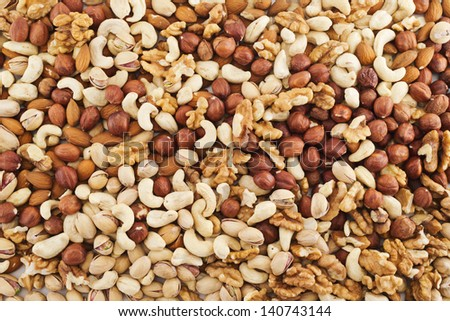 Surface covered with peanut, hazelnut, walnut, almond, pistachio nut mix
