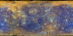 Surface map in a cylindrical projection for spherical texture mapping of Mercury. Image show chemical composition of the planet. Elements of this image furnished by NASA
