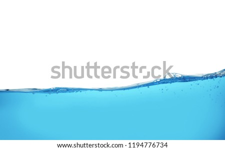 Surface of blue water against white background