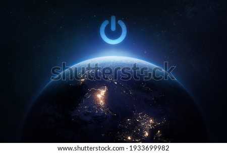 Surface of Earth planet in dark outer space. Earth hour. Our home. Power and electricity. Elements of this image furnished by NASA