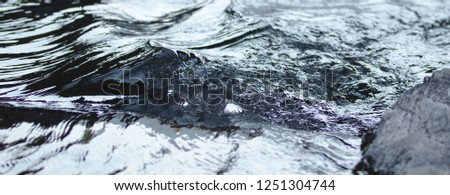 Surface structures on crystal clear flowing water #1251304744