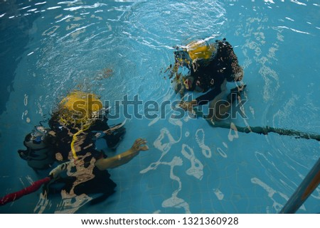 surface supplied commercial diver. diver. Underwater. #1321360928