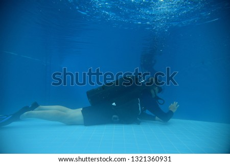surface supplied commercial diver. diver. Underwater. #1321360931
