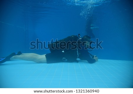 surface supplied commercial diver. diver. Underwater. #1321360940
