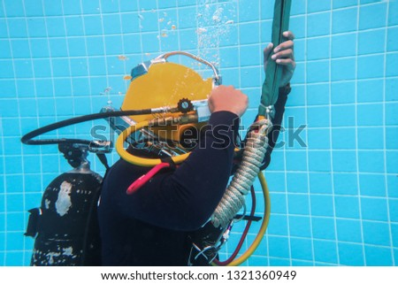 surface supplied commercial diver. diver. Underwater. #1321360949