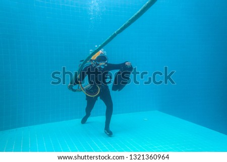 surface supplied commercial diver. diver. Underwater. #1321360964