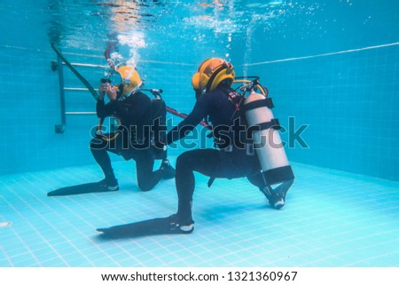 surface supplied commercial diver. diver. Underwater. #1321360967