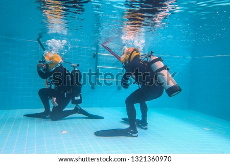 surface supplied commercial diver. diver. Underwater. #1321360970