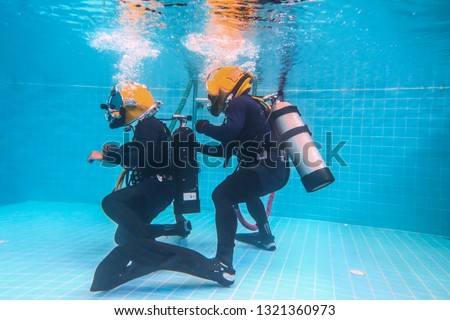 surface supplied commercial diver. diver. Underwater. #1321360973