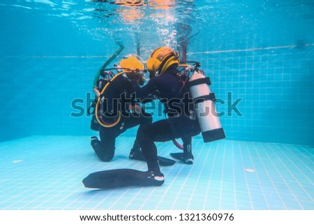 surface supplied commercial diver. diver. Underwater. #1321360976