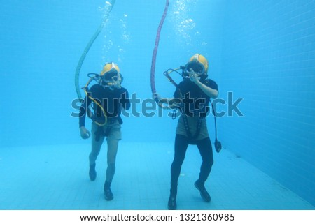 surface supplied commercial diver. diver. Underwater. #1321360985