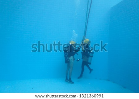 surface supplied commercial diver. diver. Underwater. #1321360991