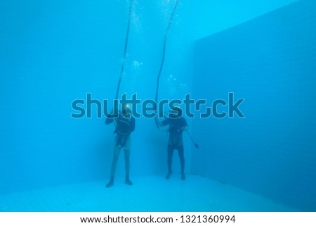 surface supplied commercial diver. diver. Underwater. #1321360994