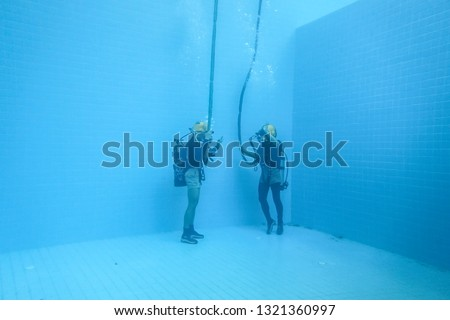 surface supplied commercial diver. diver. Underwater. #1321360997