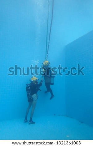 surface supplied commercial diver. diver. Underwater. #1321361003