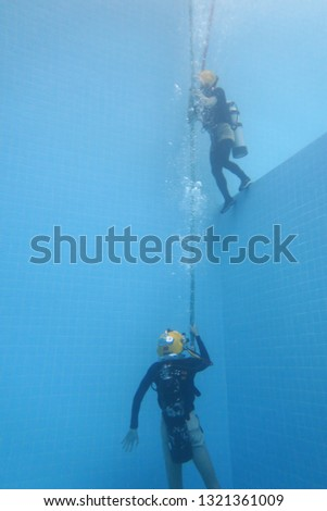 surface supplied commercial diver. diver. Underwater. #1321361009