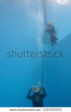 surface supplied commercial diver. diver. Underwater. #1321361012