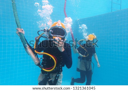 surface supplied commercial diver. diver. Underwater. #1321361045