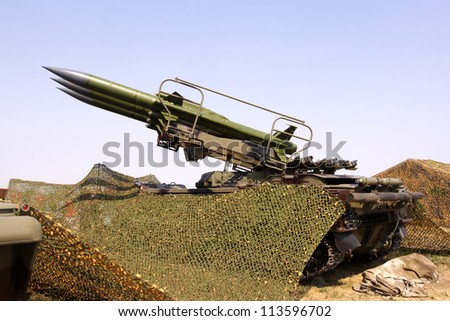 Surface to air combat missiles aimed at the sky