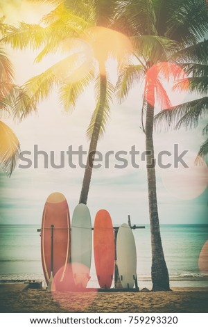 surfboard and palm tree on...
