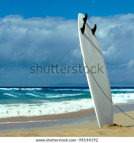 Surfboard on Fuerteventura beach