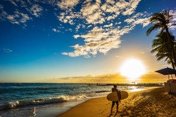 Surfer At Sunset On Waikiki Beach, Hawaii, Oahu, Honolulu