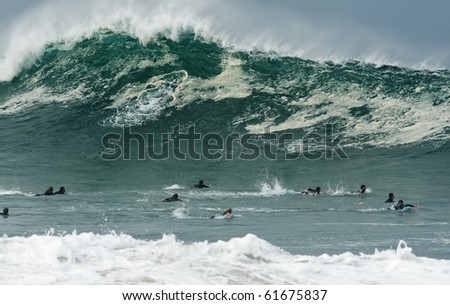 Surfer Caught Inside - stock photo