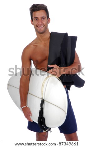 surfer holding a surfboard (isolated in white background)
