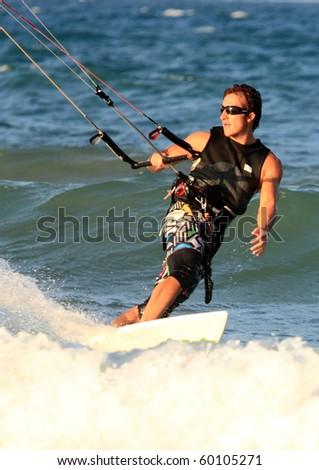 Surfer Kite surf Cullera beach Valencia province Spain Europe