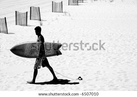 Surfer on Beach by Sand Dune Fences