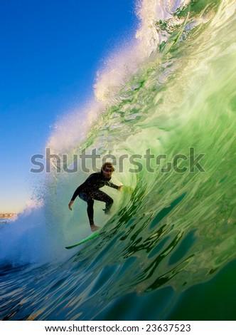 Surfer on Big Wave in Epic Tube