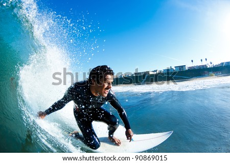 Stock Photo Surfer On Blue Ocean Wave