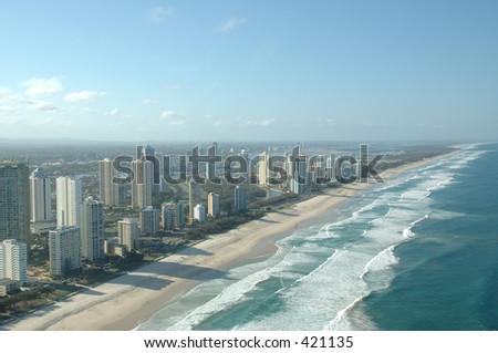 Surfer Paradise coast line at  Gold Coast