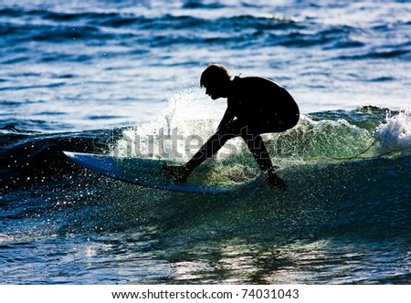 Surfer silhouette in action