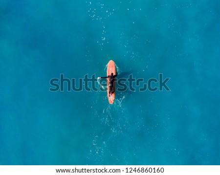 Surfer wave in ocean, top view aerial photo, tropical water #1246860160