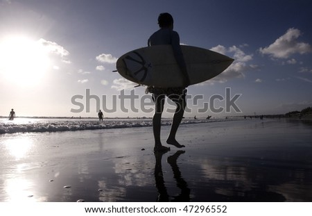 Surfer with the sunset