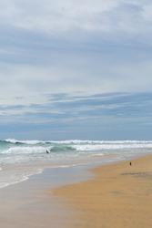 Surfers on the sea, turquoise water, blue sky. Arugam Bay, Sri Lanka. Portrait format