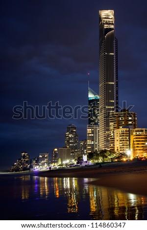 Surfers Paradise beach at night, Gold Coast, Australia