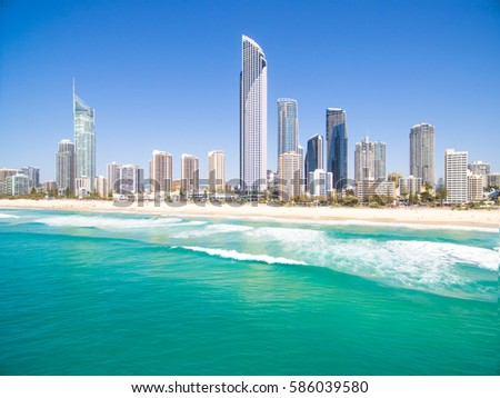 Surfers Paradise beach on a clear day on the Gold Coast, Queensland, Australia #586039580