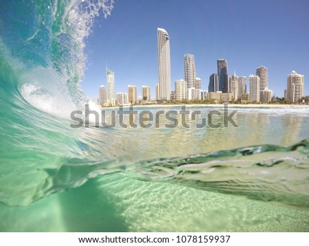 Surfers Paradise from the water, Gold Coast, Australia.