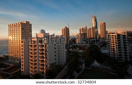 Surfers Paradise skyline during sunset in queensland, australia