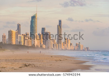 Surfers Paradise waterfront skyline as viewed from beach. Modern cityscape beach landscape #574943194
