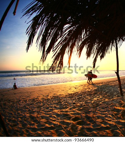 Surfers Walk Home at Sunset Along Ocean in Costa Rica