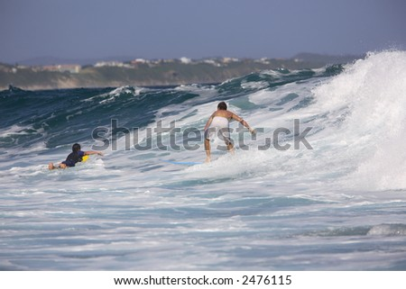 Surfing at Victoria Bay